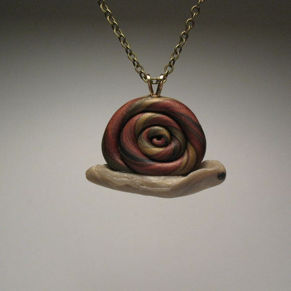 Come Snail Away Necklace - Polymer Clay Sculpture