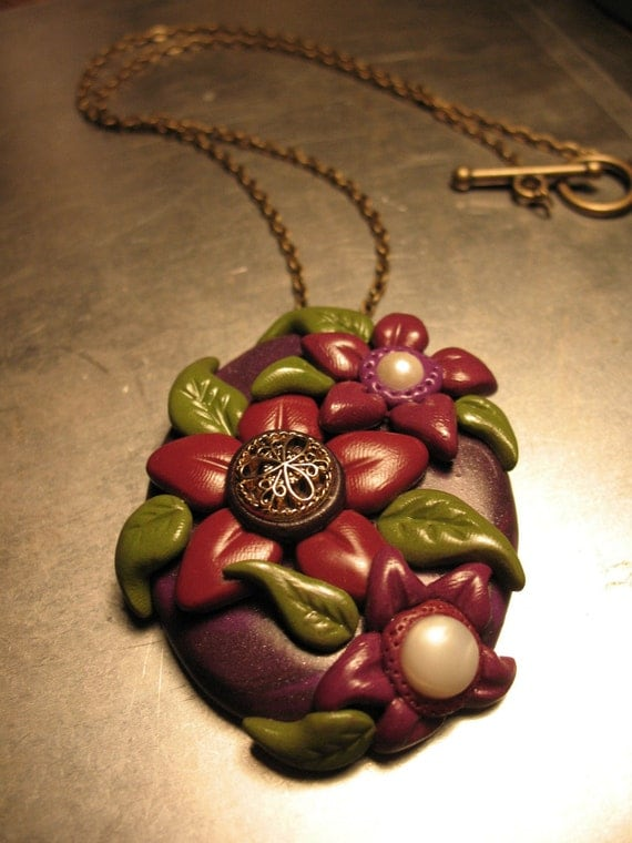 SALE Flower Bouquet Necklace - OOAK, Polymer clay, Jewelry
