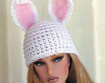 Miniature HAT - White Rabbit EARS Crochet Hat for 1/6 Scale Dolls and Action Figures - White Thread with Pink Felt Inside Ears