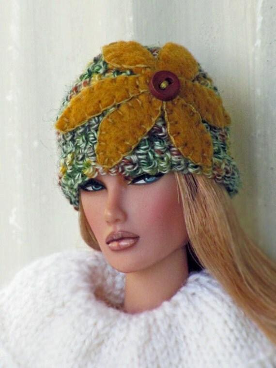 Felt Flower Crochet Hat for 1/6 Scale Dolls - Multicolored Green with Gold Flower