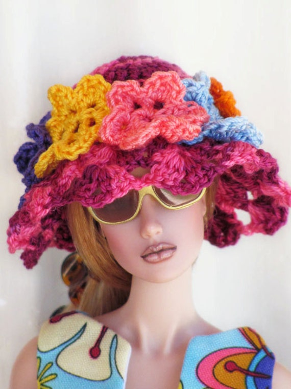 Bloomin' Big FLOWER Crochet Sun Hat for 1/6 Scale Dolls - Variegated Berry Base with Assorted Colorful Blooms