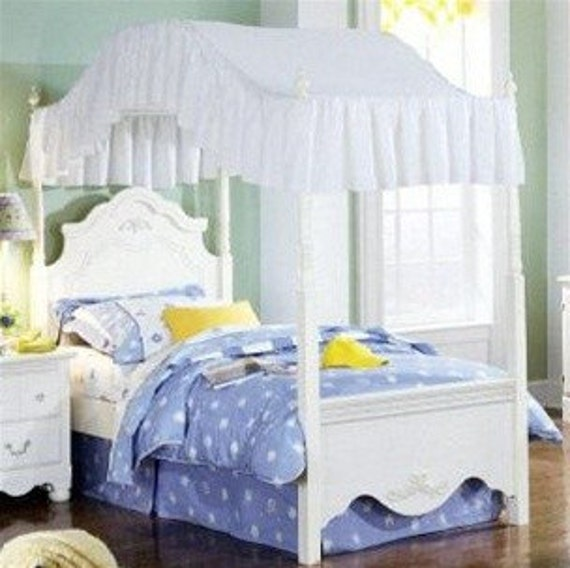 Full Size Solid White Bed Canopy Fabric Top