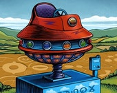 "The Extraterrestrial- 8"" x 10"" UFO Kiddie Ride- Whimsical Wall Decor"