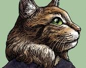 Louisa May Allcat- Maine Coon Cat as Louisa May Alcott- Cat Wall Decor- Whimsical Cat Art