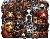 "Dogs- 8"" x 10"" Art Print- Whimsical Collection of Dog Breeds- Dog Art Wall Decor"