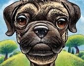 """Pugnacious Pug Dog- 8"""" x 10""""- Pug Wall Art- Pug Art- Whimsical Dog Art- Dog Wall Decor- Dog Print"""