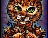 "Kitty Litter- 8"" x 10""- Cat Art Print- Cat Wall Decor- Cat Wall Art- Cat Print- Cat Gift"