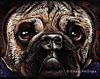 """Pug- 8"""" x 10""""- Pug Wall Art- Pug- Whimsical Dog Art- Dog Wall Decor- Dog Print"""