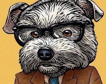 Stray Bradbury- Terrier Dog as Ray Bradbury- Whimsical Dog Art- Dog Art Wall Decor