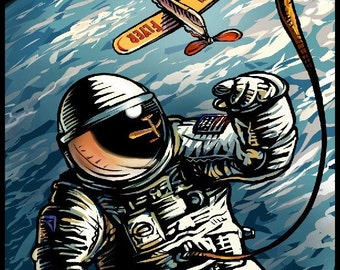 "High Flyer 8"" x 10"" Whimsical Astronaut With Airplane Art Print"