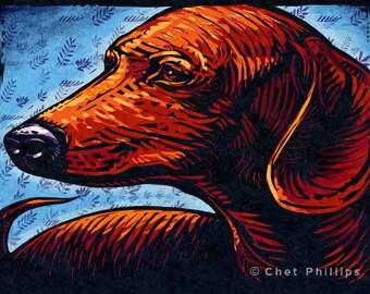 "Dachshund- 8"" x 10""- Whimsical Dog Art Print- Dog Wall Decor- Dog Wall Art- Dachshund Art- Dog Print"