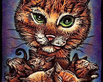 """Kitty Litter- 8"""" x 10""""- Cat Art Print- Cat Wall Decor- Cat Wall Art- Cat Print- Cat Gift"""