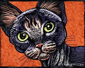 """Devon Rex Cat- 8"""" x 10""""- Cat Art Print- Cat Wall Decor- Cat Wall Art- Cat Print- Cat Gift"""