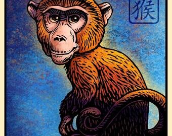 "Monkey- 8"" x 10"" Chinese Monkey Zodiac Art Print- Whimsical Monkey Wall Decor"