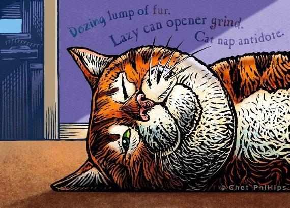 """Cat Nap Antidote- 8"""" x 10""""- Cat Art Print- Cat Wall Decor- Cat Wall Art- Cat Print- Cat Gift"""