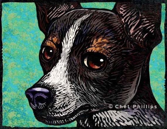 "Toy Fox Terrier- 8"" x 10"" Toy Fox Art Print- Toy Fox Terrier Wall Decor"