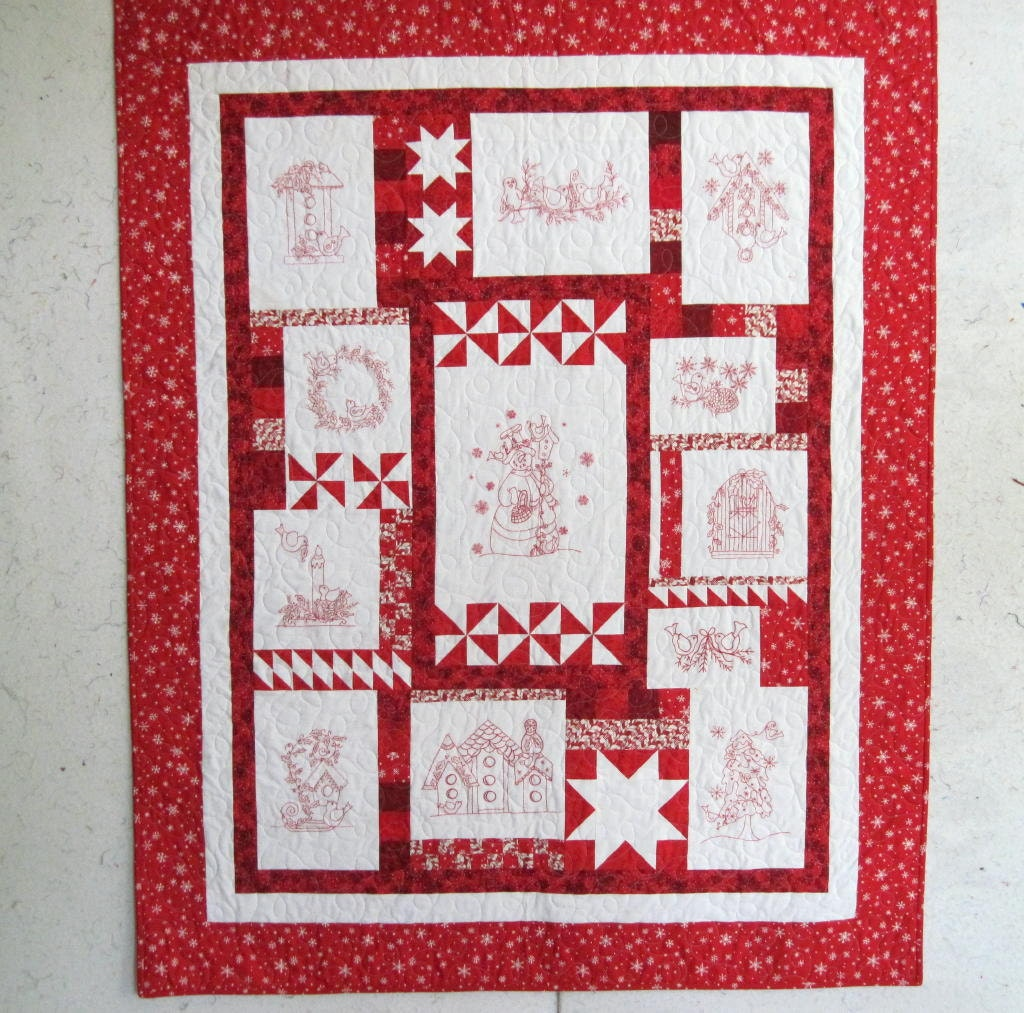Redwork Quilt Patterns Christmas : Redwork Embroidery Christmas Quilt or Wallhanging