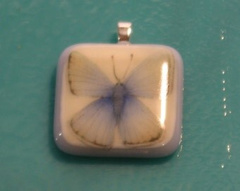 Fused Art Glass Pendant with blue butterfly