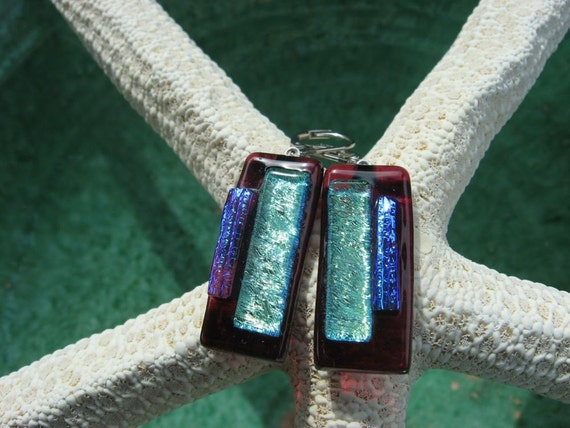 Dichroic glass fused to cranberry cathedral glass earrings