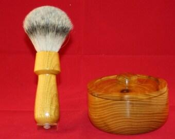 Covered shaving brush and bowl in osage orange.