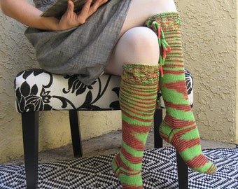 Knee High Socks Orange and Green Merino Wool with ties Women