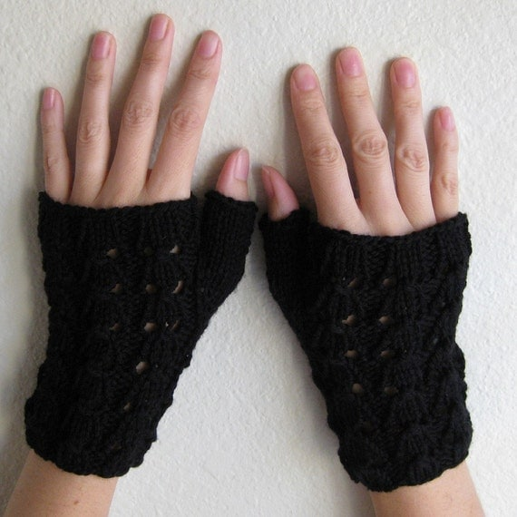Fingerless Gloves Cashmere Merino Hand Knit Black Lace