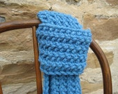 FREE SHIPPING Hand Knit Scarf in Sky Blue  Ready to Ship