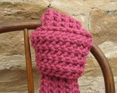 FREE SHIPPING Scarf Hand Knit in Dark Pink  - Rose Bud - Ready to Ship