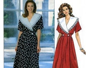 CLEARANCE SALE - Butterick 5974 Dress with Triple Collar and Blouson Back Designer Leslie Fay Size 12 14 16 Uncut Sewing Pattern 1992