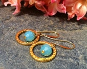 Gold and Opal Blue Earrings