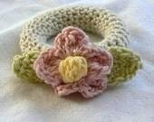 Fresh Picked Pink\/Cream flower Baby Rattle