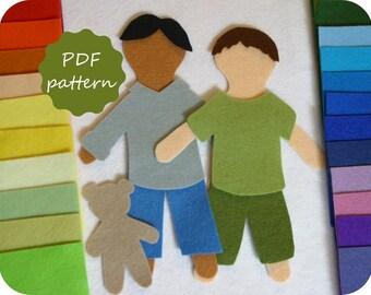 Elliott Felt Paper Doll Pdf Pattern for Flannel Board - Instant Download