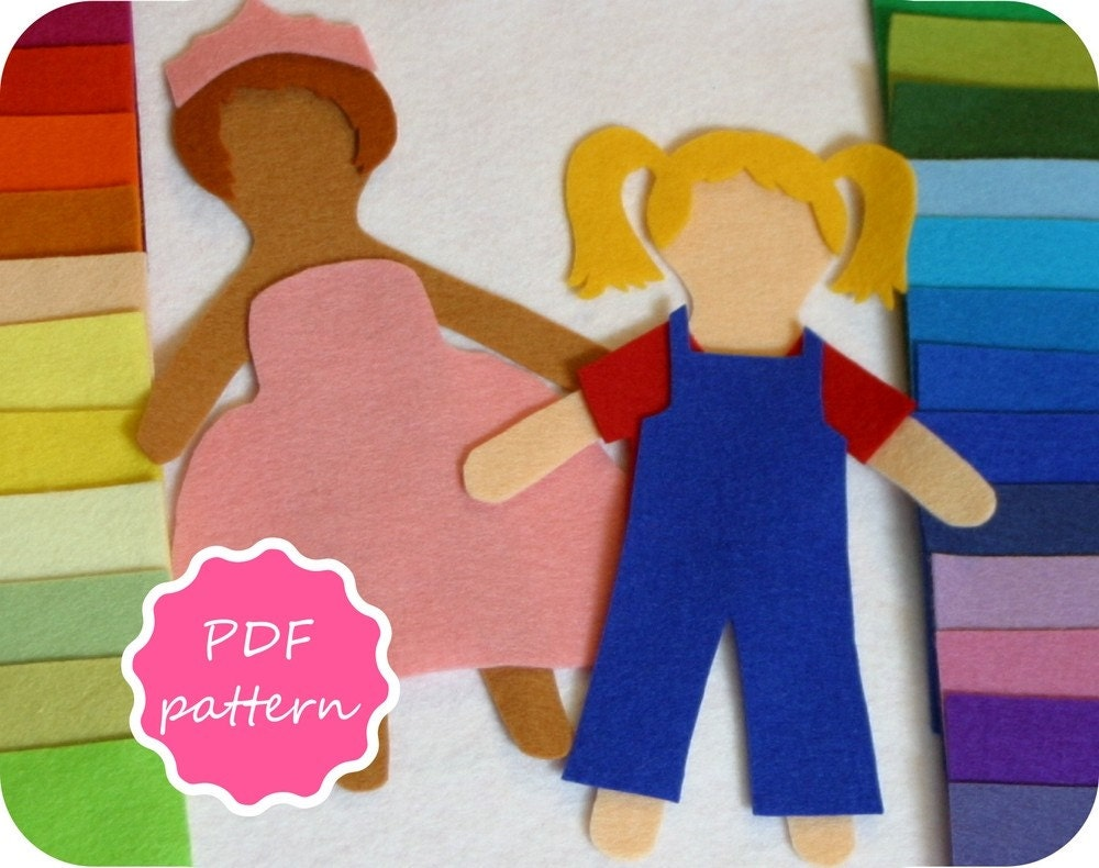 felt dress up doll template matilda felt paper doll pdf pattern for flannel board