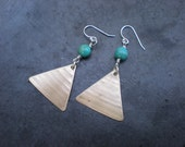 Turquoise Colored Howlite and Recycled Cymbal Earrings