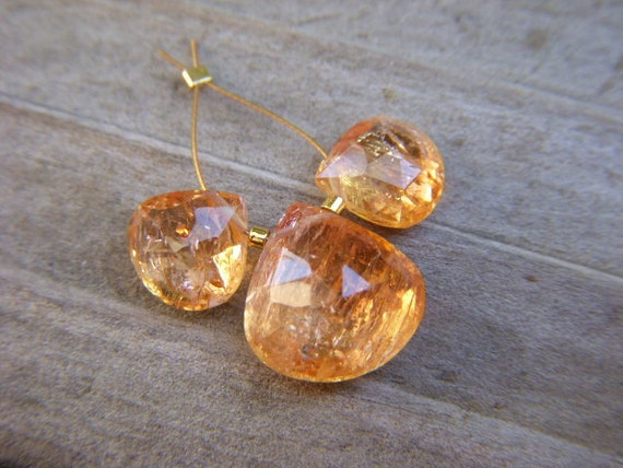 Imperial Topaz Faceted Hearts - Trio - 8 to 11mm