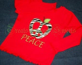 Apple Peace Sign Toddler Red Long Sleeve Tshirt Sample Sale
