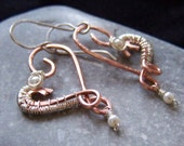 Sterling silver, copper and pearl heart earrings