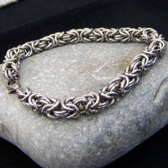 Stainless steel byzantine chainmaille bracelet for Do pawn shops buy stainless steel jewelry