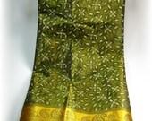 Silk Sari piece 2 yard gold and dark sage