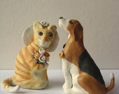 Wedding cake topper featuring pets - custom order