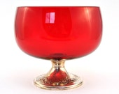 Reserved - Woot1953 - Gorham Sterling Silver, Cambridge Glass, Ruby Red Compote