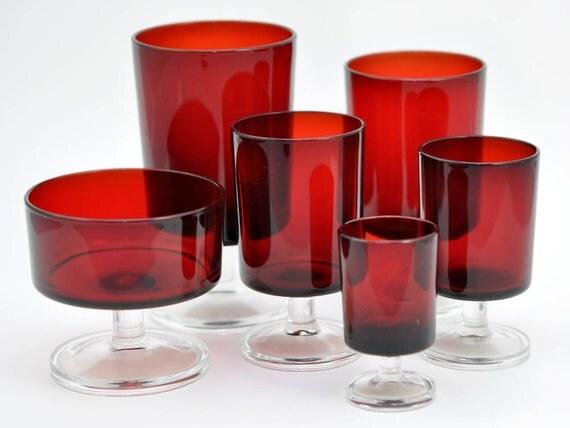 SALE - Vintage Wine Glasses, Ruby Red Luminarc Cavalier - Set of 24 Stemware