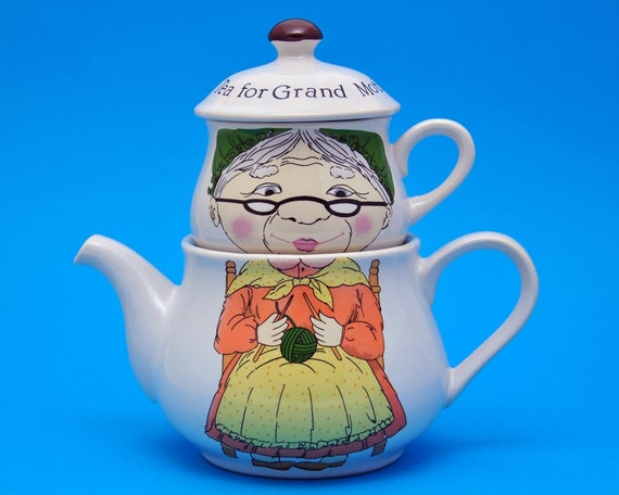 Vintage Teapot and Teacup Set, Grandmother, Knitting Character
