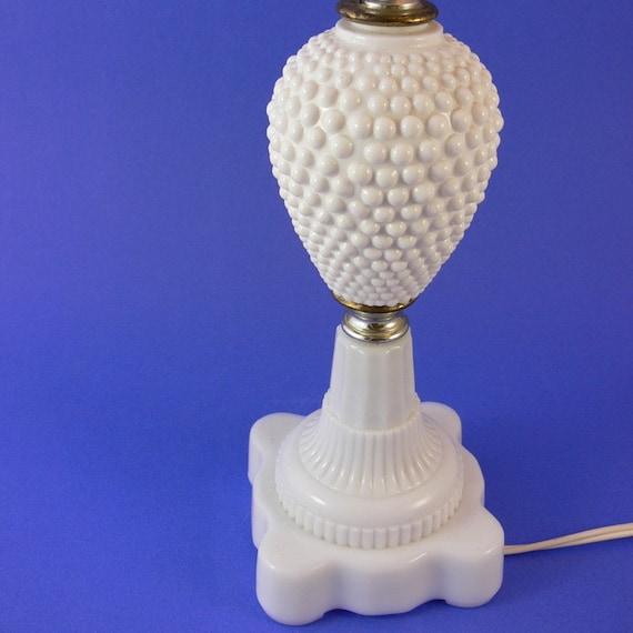 milk glass vintage hobnail lamp