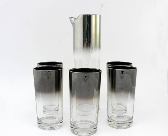 Queens Lusterware Silver Ombre Martini Pitcher and 5 Tumblers