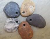 Drilled Beach Stones Rocks Pebbles - Ocean Sea - SoCal - Southern California - San Diego - (set no.1)
