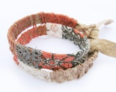 Leather Bracelet - Double Wrap - Coral and Lace