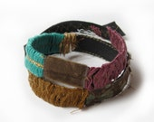 Leather Bracelet - Double Wrap - Teal Plum - Beautiful