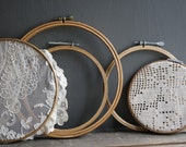 vintage wooden embroidery hoops