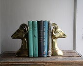 vintage brass ram bookends